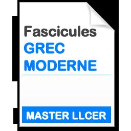 Fascicule Master LLCER Études néo-helléniques