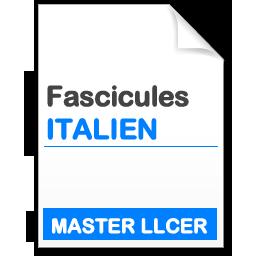 Fascicule Master LANGUES, LITTERATURES ET CIVILISATIONS ETRANGERES ET REGIONALES  SPECIALITE ETUDES ITALIENNES