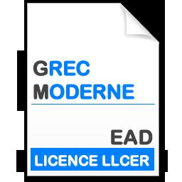 maquette formation licence Littératures et Civilisations Etrangères et Régionales (LLCER) - grec moderne en Enseignement à Distance (EAD)