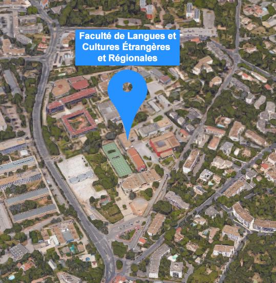 plan n°1 3d localisation de la Faculté de Langues et Cultures Étrangères et Régionales sur le campus Université Paul-Valéry Montpellier 3