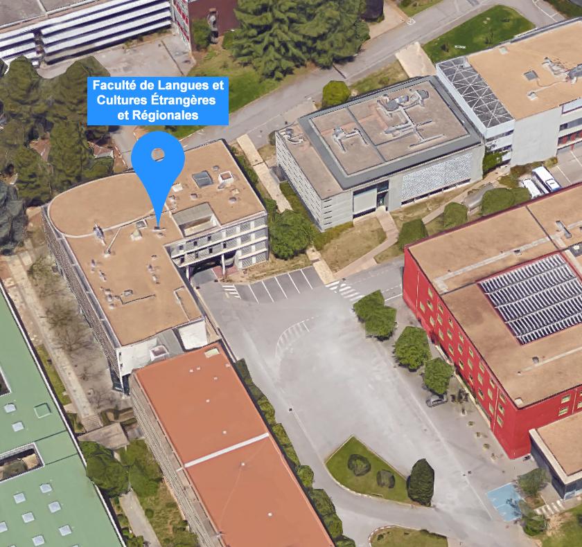 plan n°4 3d localisation de la Faculté de Langues et Cultures Étrangères et Régionales sur le campus Université Paul-Valéry Montpellier 3