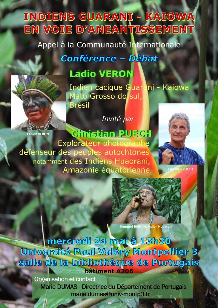 Affiche de la conférence-Débat sur Les Peuples oubliés d'Amazonie le 24/05/2017 à 13h30 Bât. A salle A206