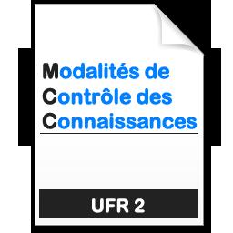 modalités de contrôle des connaissances MCC de l'UFR2 - Faculté de Langues et Cultures Étrangères et Régionales